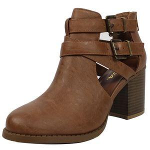 Tan Cutout Double Buckle Block Heel Ankle Boot